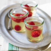 Elderflower jellies with fresh raspberries recipe