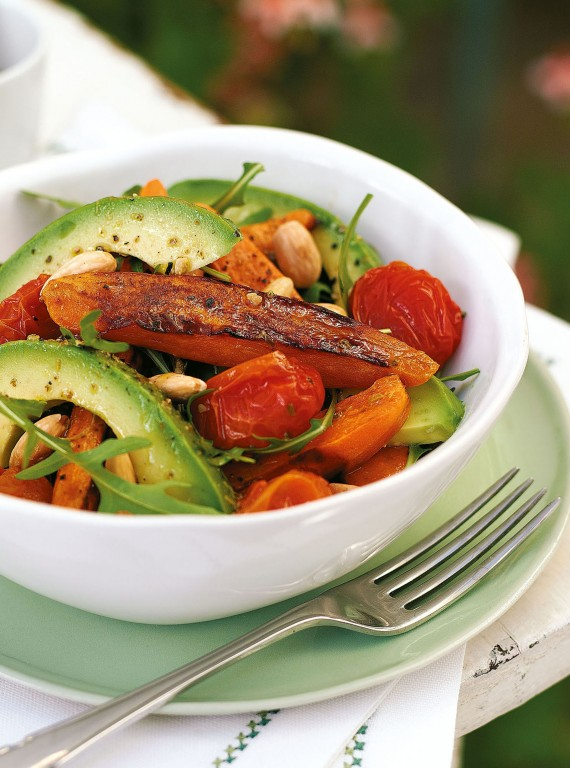 Avocado, sweet potato and tomato salad in a bowl-alternate day fasting diet