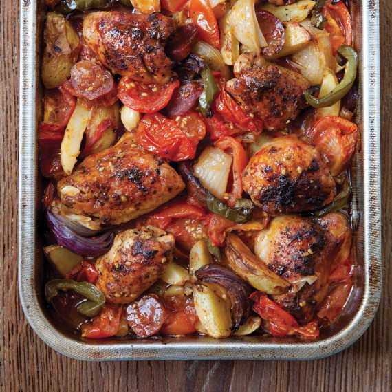 Hairy Bikers Dieters Spanish style chicken bake and chorizo in a roasting tin