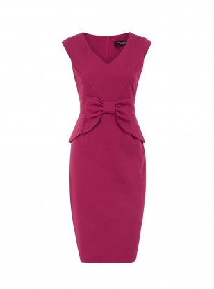 Dorothy Perkins Raspberry Peplum Bow Dress