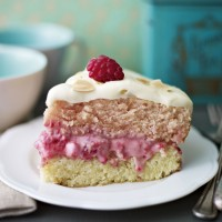 Raspberry and almond layer cake