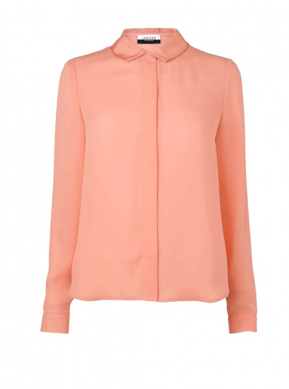 Jaeger Grosgrain Collar Silk Blouse