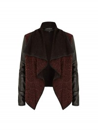 River Island Red PU Sleeve Fallaway Biker Jacket