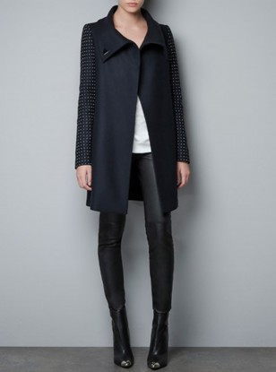 Zara Coat With Applique Sleeves