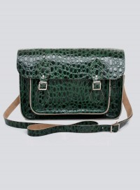 Zatchels Green Reptile Print Leather Satchel