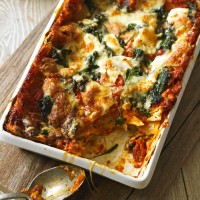Tomato, Spinach and Three-Cheese Lasagne