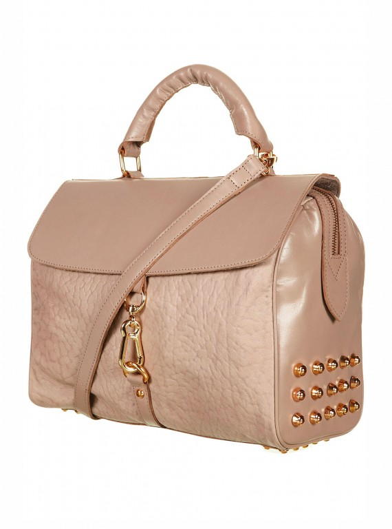 Topshop leather studded and clip bag