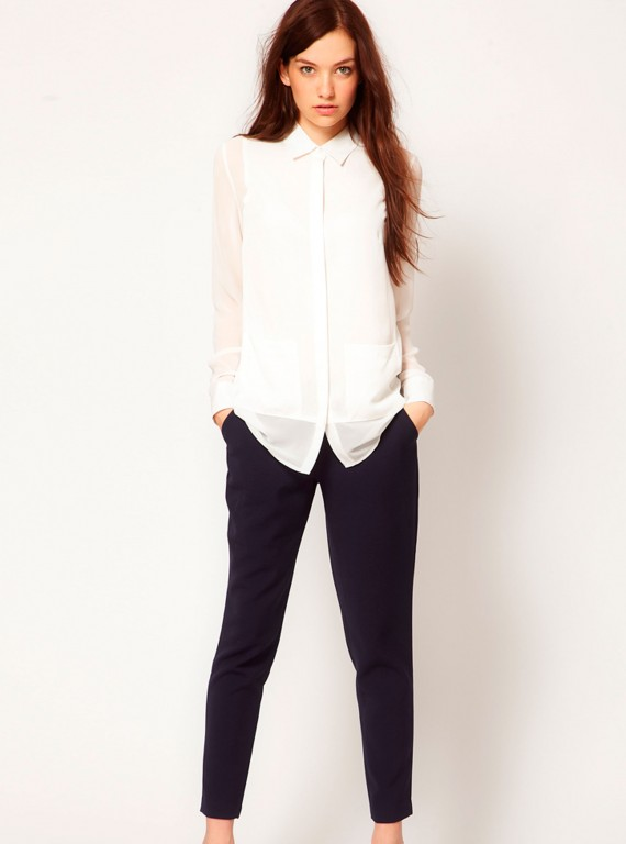 Vila Tailored Trousers With Leather Look Waistband