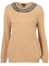 Topshop Knitted Necklace Jumper