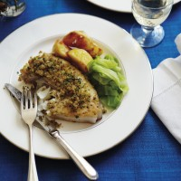 Halibut with parsley butter breadcrumbs