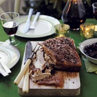 Crispy belly pork with dried cranberry and cherry chutney