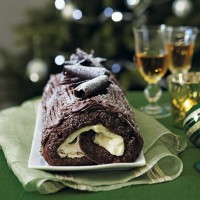 Christmas chocolate log with Irish cream filling
