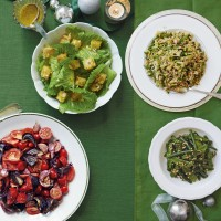 French beans and mangetout with hazelnuts and orange