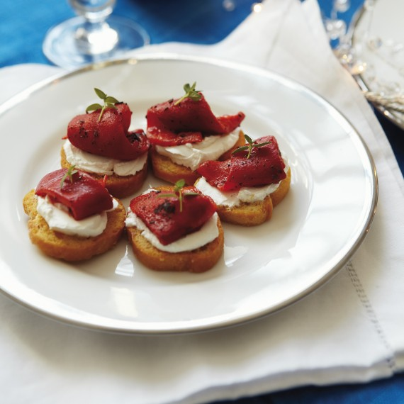 Party food ideas crostini of roasted red peppers with for Cheese canape ideas