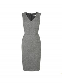 L.K. Bennett Silver Freida Wool V-Neck Dress