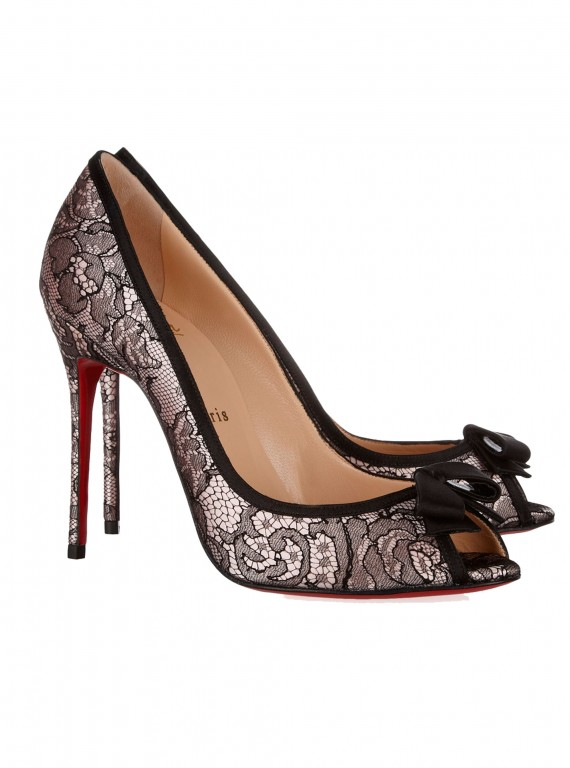 Photo of the Christian Louboutin Milady 100 Chantilly lace and satin peep-toe pumps