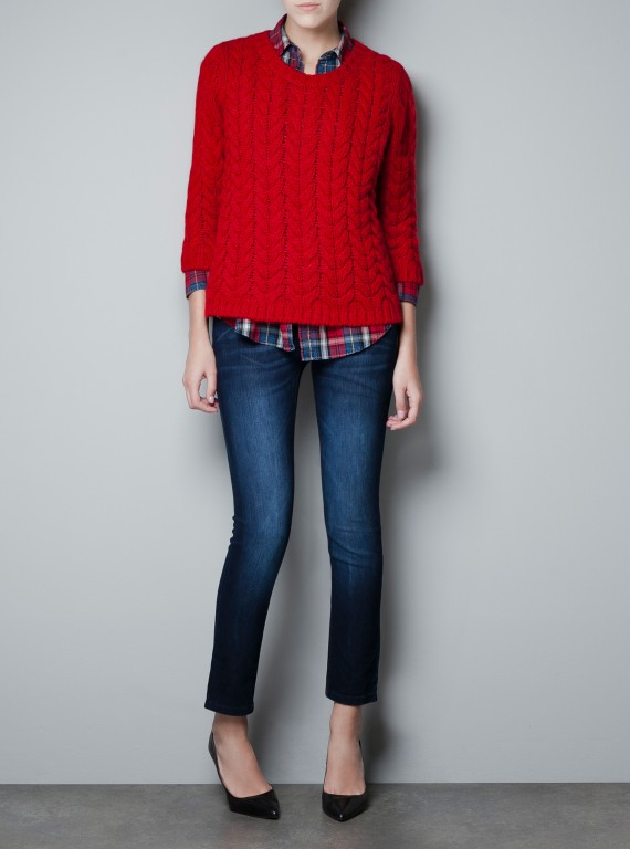 Zara Cable Knit Zip Sweater photo