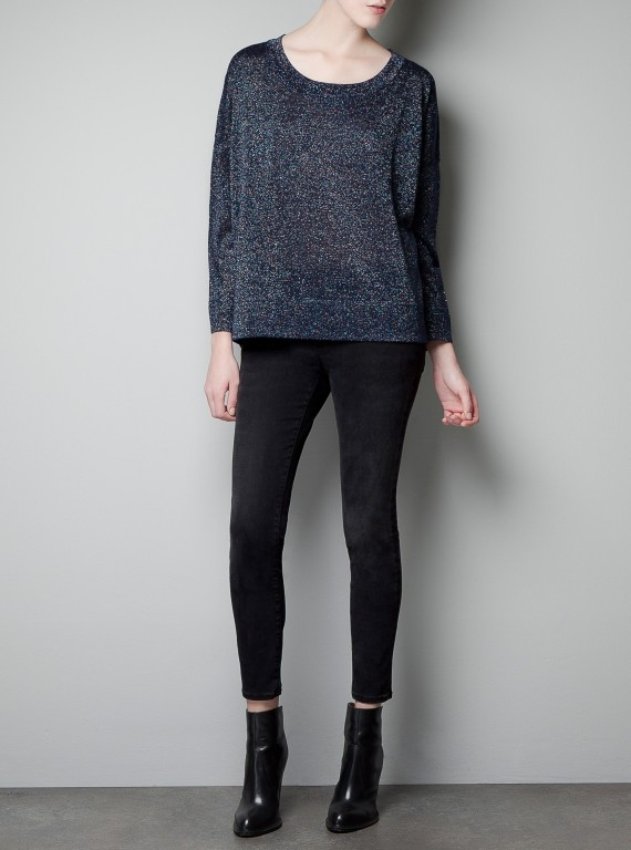 Zara Sweater With Multicolour Metallic Thread photo