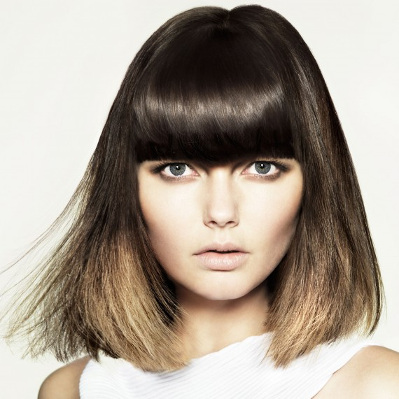 Photo of a model with a long bob with fringe hairstyle