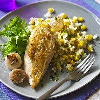 Roast Chicken Breasts with Sweetcorn Risotto and Caramelised Shallots