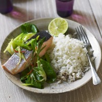 Baked Salmon with Ginger, Soy and Pak Choi