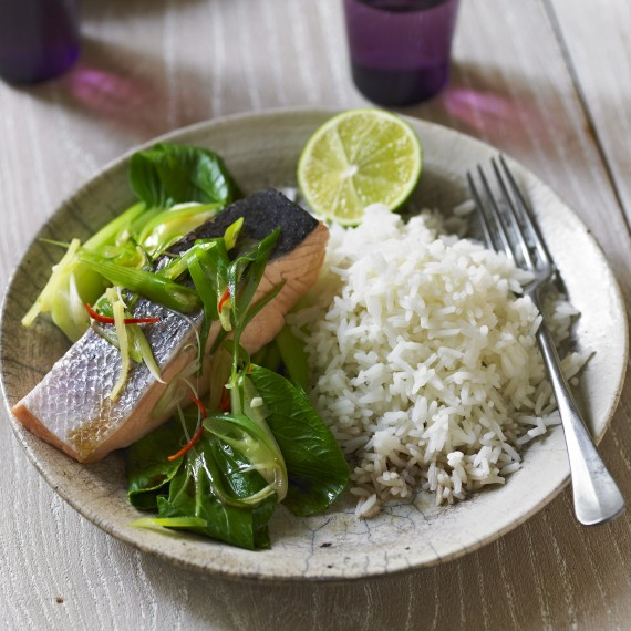 photo of Roast Salmon with Ginger Soy & Pak choi Recipe