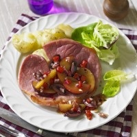 Grilled Gammon Steaks with Plum, Black Olive and Red Onion Salsa Recipe
