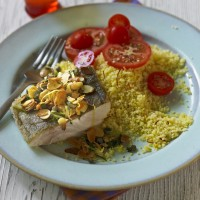 Pan-fried Cod with Saffron Couscous, Almonds and Capers Recipe