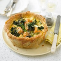 Salmon and Broccoli Filo Tart