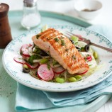 Lightly Smoked Salmon Fillets with Fennel, Radish and Black Olive Salad