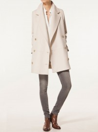 Massimo Dutti Double Breasted Beige Coat 