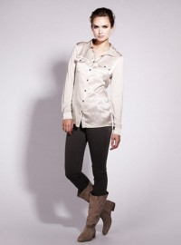 Mint Velvet Neutral Silk Front Shirt