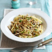 Sardine Spaghetti with Lemon and Black Pepper Breadcrumbs