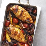 Sticky chicken and chorizo traybake roast