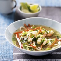 Healthy prawn noodle bowl