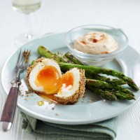 Dukkah Eggs with Griddled Asparagus and Houmous