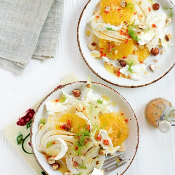 Photo: Orange, fennel and hazelnut salad with a ginger and chilli dressing recipe