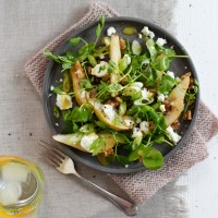 Pear, Feta, Walnut and Pea Shoot Salad