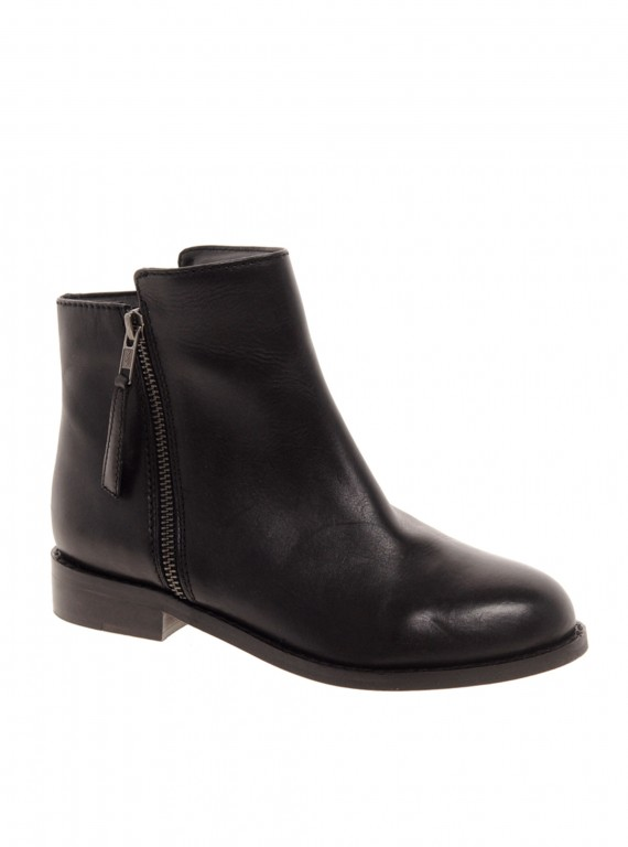 Photo of Faith Sandy Zip Side Flat Ankle Boots