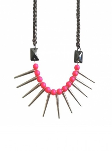 Eastern Mystic Glam Punk Tribe Neon Pink Necklace