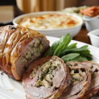 Lemon and Herb Stuffed Shoulder of Lamb with Fresh Mint Sauce and Lamb Jus