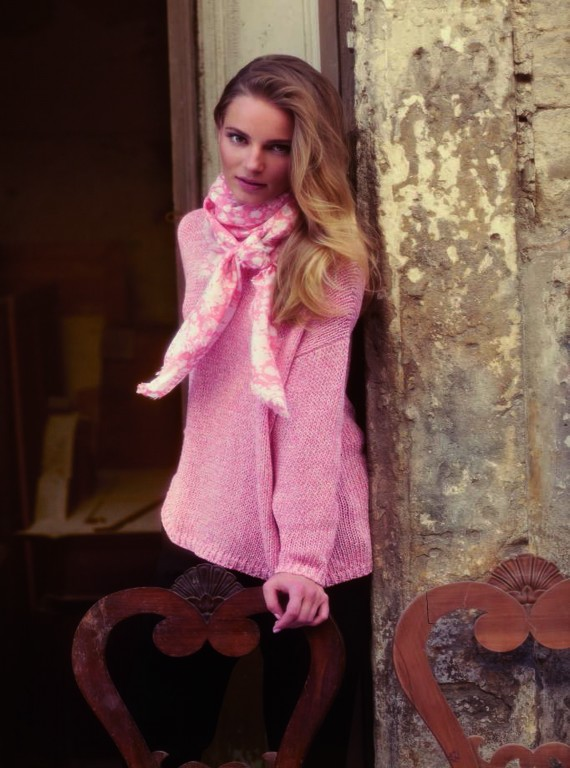 Photo: Model wearing a pink MaxMara jumper