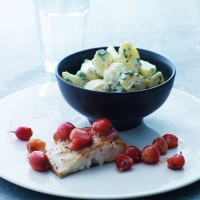 Fried mullet with gooseberries and potato salad