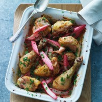 Chicken with baked rhubarb and cucumber-radish salad