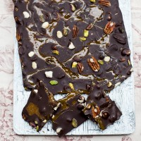 Chocolate, nut and caramel slab bar