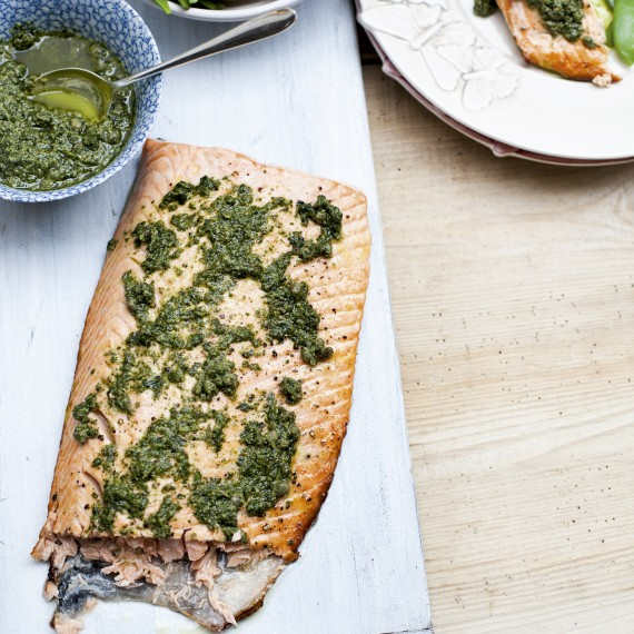 Roasted Salmon-Salsa Verde-food-spring dining-woman and home