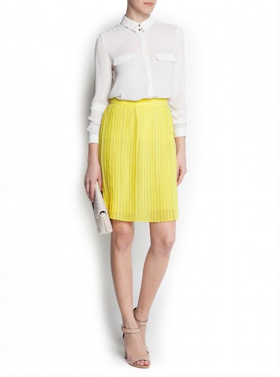 mango pleated yellow skirt what i like