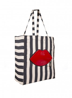 Lulu Guinness Striped Foldaway Red Lips Tote