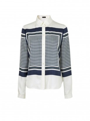 Jaeger blue and white print blouse