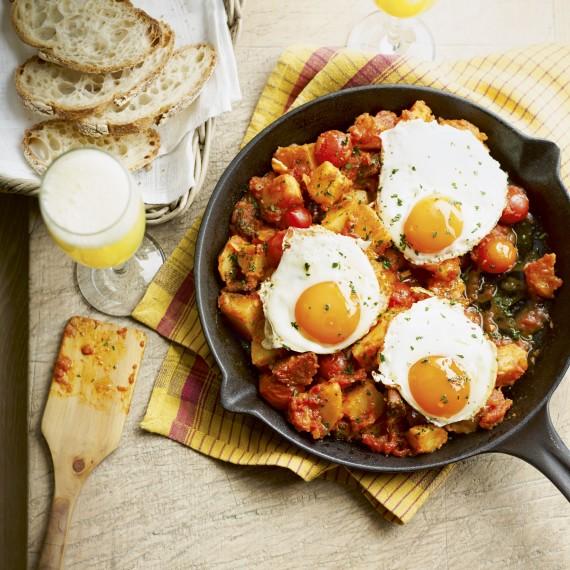 Chorizo and Patatas Bravas with Eggs - Woman And Home